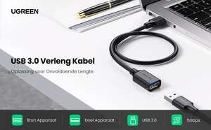 UGREEN verlengkabel USB 3.0 (male naar female) 2M voor €5,99 @ Amazon NL