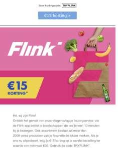 Flink - boodschappen bezorgservice €15,- korting bij €30,-