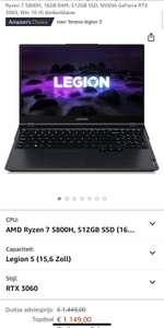 Lenovo legion 5 | RTX 3060 | Ryzen 7 5800H