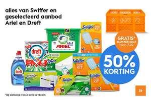 50% Korting op alles van Swiffer en geselecteerd aanbod Ariël en Dreft + gratis krat bij aankoop van 3 actie artikelen Blokker