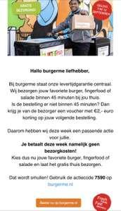 Gratis bezorging met coupon code BurgerMe