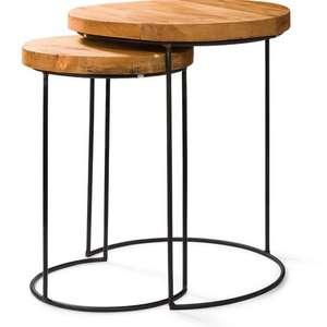Set van 2 houten/metalen bijzettafels voor €24,99 @ Blokker