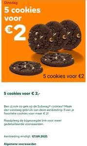 Subway® 5 cookies voor €2