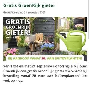 Gratis Groenrijk gieter bij besteding vanaf 20 euro aan buitenplanten