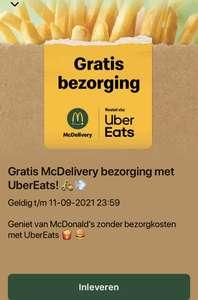 Gratis bezorging @ UberEats met code 14MCD