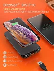 BlitzWolf® BW-P10 10000mAh QC3.0 PD18W Power Bank 4 outputs wireless charging