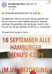 [Lokaal Best] Hamburger menu voor €2,99 @Worldburger