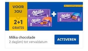 Milka chocolade 2+1 gratis Lidl plus