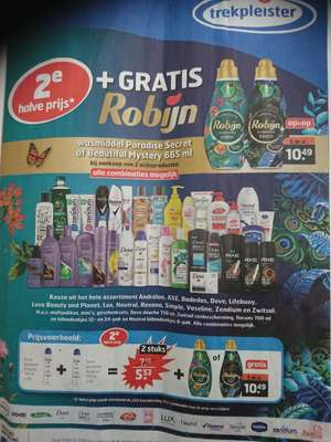 Gratis Robijn wasmiddel €10,49 bij tweede halve prijs producten Trekpleister