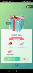 Pokémon Go Event box voor 1 coin.