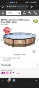 EXIT Wood zwembad met filterpomp - bruin Ø 360 x 76 cm