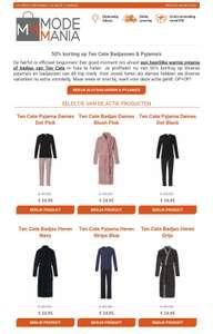 50% korting op diverse Ten Cate badjassen en pyjama's heren en dames (@modemania.nl)
