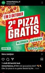 2e pizza gratis bij New York Pizza