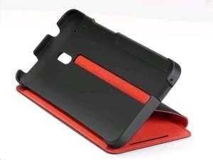 HTC HC-V851 flip tasje met stand - zwart/rood - voor HTC One Mini