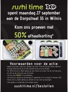 Sushi time Wilnis 50% openingskorting(afhaal)