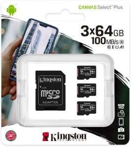 Kingston Canvas Select Plus microSDXC 3x 64GB incl. SD-adapter