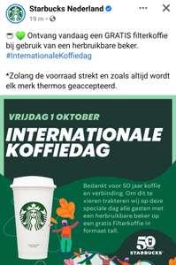 Gratis filterkoffie bij gebruik van je eigen herbruikbare beker @ Starbucks