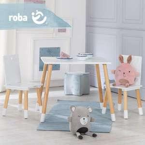roba houten kindertafel met 2 stoeltjes (wit of grijs) voor €39,99 @ Lidl