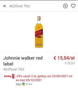 [GRENSDEAL BELGIË] 2 flessen Johnnie Walker red label (Colruyt)+ extra koopjes