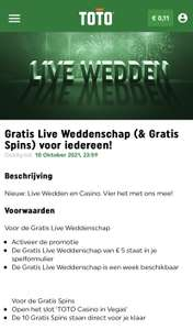 TOTO: Gratis €5 inzet bij live wedden en gratis 10 spins