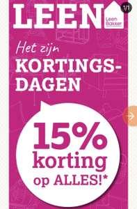 15% korting op alles* bij Leen Bakker