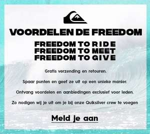 25% extra op de flash verkoop + gratis verzending op alles door aanmelden Quiksilver Freedom