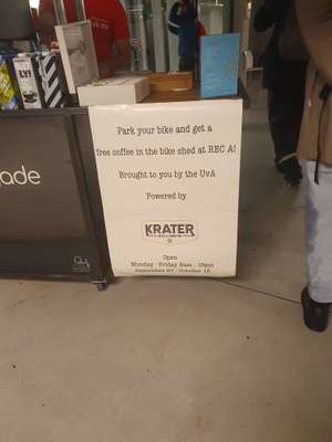 Tot 16oktober Gratis Coffee to Go @fietsenstalling UVA Roeterstraat Amsterdam