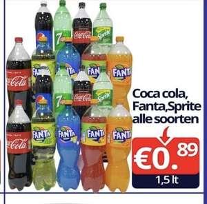 Coca cola, fanta & sprite 1.5 liter bij de basis e markt