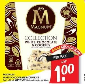 Pak Magnum White Chocolate & Cookies voor €1 @ Dekamarkt