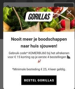 (Lokaal) 15 Euro Korting Op Je Bestelling (Minimale Besteding 25 Euro) @Gorilla's