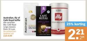 Alle Illy, Australian en Cafe Royal koffie 25% korting