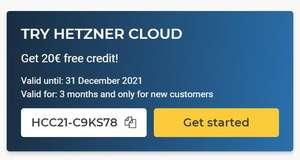 Hetzner Cloud €20 tegoed