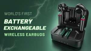 PQ earbuds met verwisselbare accu voor $69.99