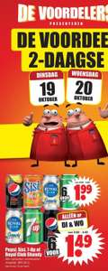 6 blikjes Pepsi, Sisi, 7-Up of Shandy voor €1,49 bij Dirk
