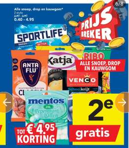 Alle snoep (+drop en kauwgom) 2e gratis @Deen supermarkten