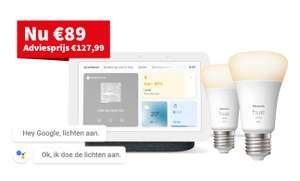 Google Nest Hub 2 smart display + Philips Hue White Bluetooth E27 Duopack