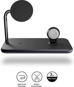 ZENS aluminium 4 in 1 magnetic wireless charger with 45W USB PD - zwart