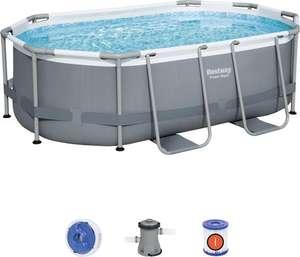 Bestway zwembad power steel set ovaal grijs 305x200x84 Inclusief filterpomp (prijsfout)
