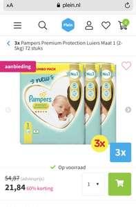 Pampers premium protection maat 1 voor 10 cent per luier