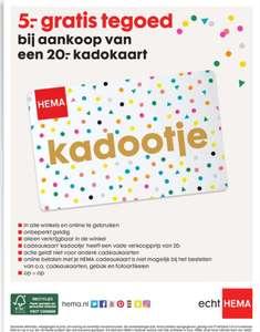 HEMA 5.- euro tegoed bij aankoop van een 20.- kadokaart