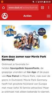 Voor €19,50 naar Movie Park Germany @ SBS6