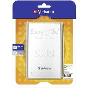 Verbatim Store'n'Go Ultra Slim Silver 500GB (USB 3.0) voor €34,60 @ Companic