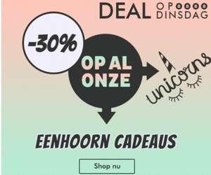 Deal op Dinsdag! 30% korting op eenhoorn artikelen @Radbag