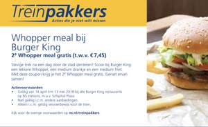 2e Whopper menu gratis bij Burger King op NS stations