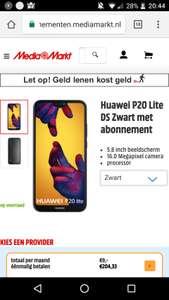 Huawei P20 Lite €233,33 (met 1 maand Telfort)