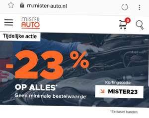 Bij Mister auto 25% korting - Geen minimaal bedrag op auto onderdelen