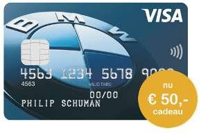 Gratis één jaar BMW VISA World Card + €50,- @ ICS