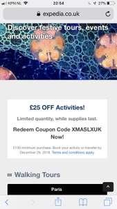 Expedia activity £25 korting bij booking van £150 op UK site
