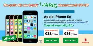 Gratis iPhone 5C bij 1 jaar Vodafone abonnement van €26 of €28 per maand @ GSM Easy