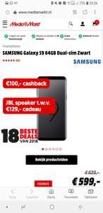 SAMSUNG Galaxy S9 64GB Dual-sim Zwart + JBL Link 10 met ondersteuning van Google assistent